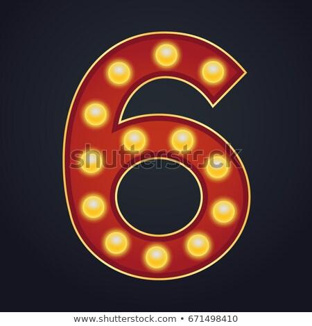 Szám vektor hat betűtípus sátor fény Stock fotó © pikepicture