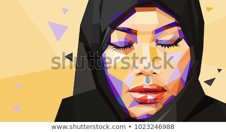 vector   black niqab style beautiful arabic muslim woman   illu stock photo © nikodzhi