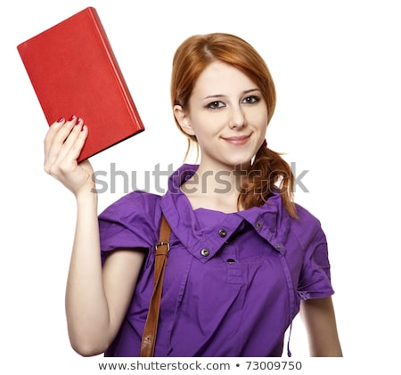 Сток-фото: Red Haired Girl Keep Book In Hand