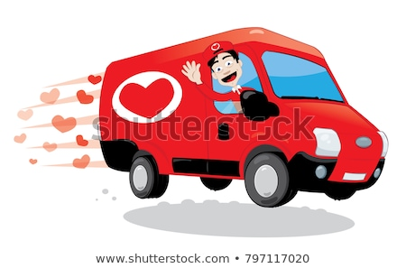 Funny courier delivering a truck of love. Saint Valentine and love concept Stock photo © pcanzo