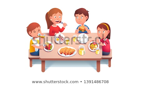 School children having lunch in the canteen Stock photo © bluering