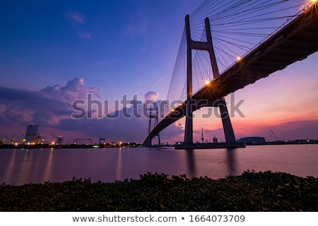 Puente colgante silueta torre aire libre nadie Foto stock © IS2