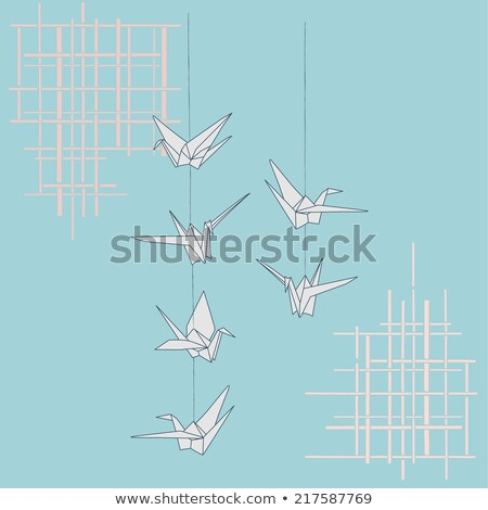 Origami Paper Cranes Strings Stock photo © lenm
