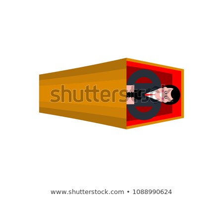 Dead man and phone in coffin. Wooden casket and corpse. vector i Stock photo © MaryValery