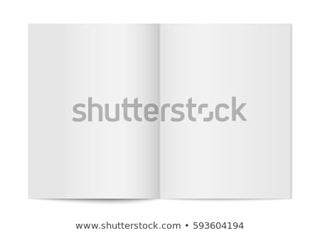 Vector realistic opened book, journal or magazine mockup with sheet of A4. Blank open pages of sketc Stock photo © olehsvetiukha