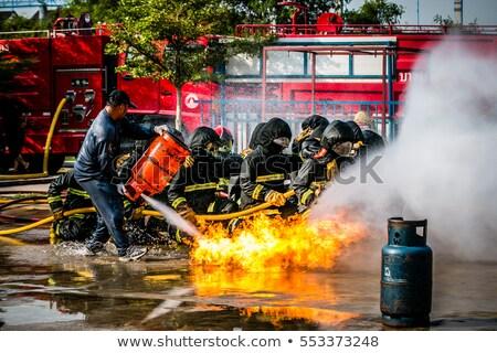 Homem bombeiros ilustração grupo fora Foto stock © lenm