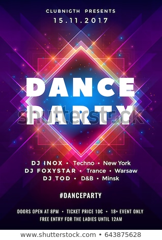 night dance party poster design with abstract modern geometric shapes on shiny background electro s stock photo © articular