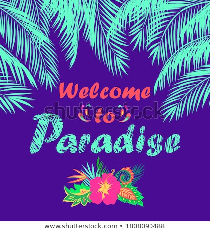 vector summer party flyer design with tropical leaves and flower on blue background summer nature f stock photo © articular