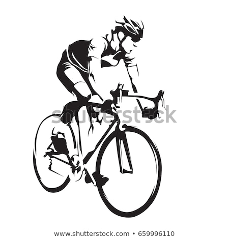 Bicyclist on Bicycle Black Silhouette Isolated White Stock photo © robuart