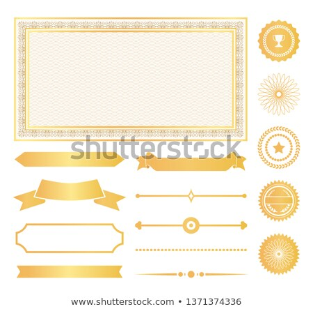 decorative frames gold water marks and ribbons stock photo © robuart