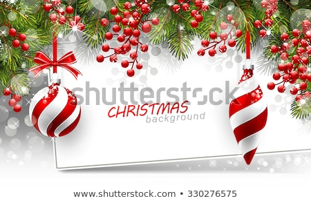 Xmas Red Background With Christmas Ball And Firtree Stock photo © barbaliss
