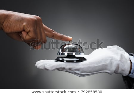 közelkép · kéz · szolgáltatás · harang · fa · asztal · fa - stock fotó © andreypopov