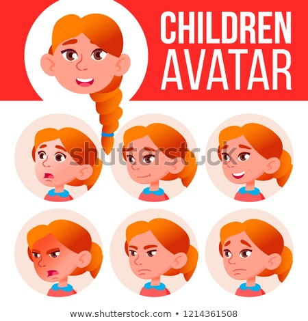 Girl Avatar Set Kid Vector. Redhead. High School. Face Emotions. Emotions, Emotional. Leisure, Smile Stock photo © pikepicture