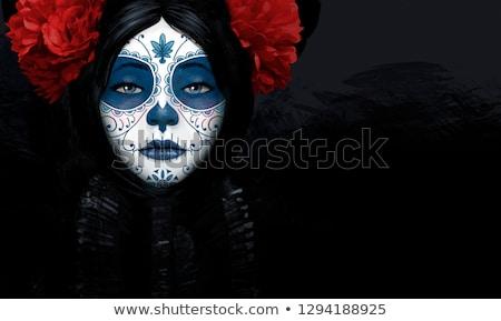 suiker · schedel · meisje · tattoo · een · kleur - stockfoto © anastasiya_popov