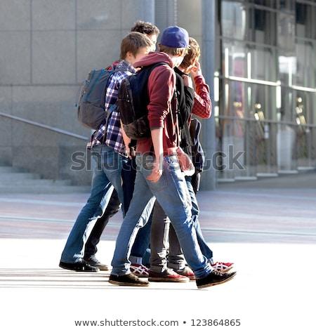 Nastolatków urban scene ilustracja dziewczyna budynku dziecko Zdjęcia stock © bluering