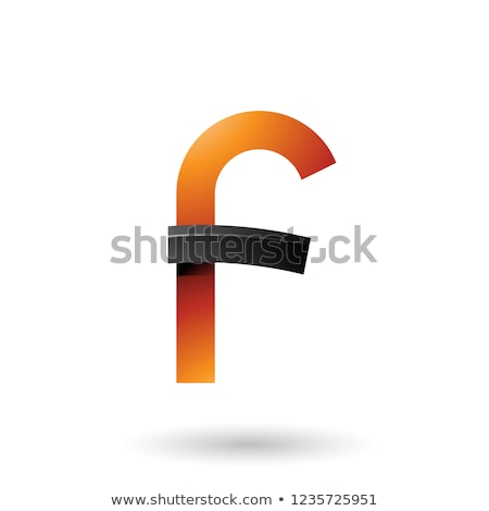 Black and Orange Bold Curvy Letter F Vector Illustration Stock photo © cidepix