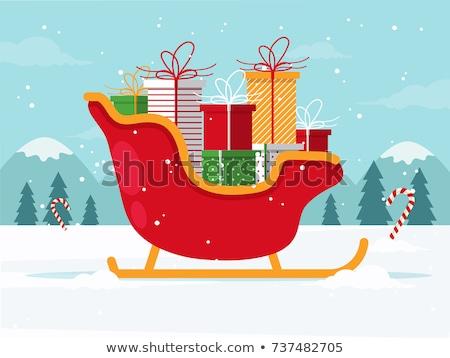 slitta · presenta · Natale · illustrazione · design · finestra - foto d'archivio © IvanDubovik