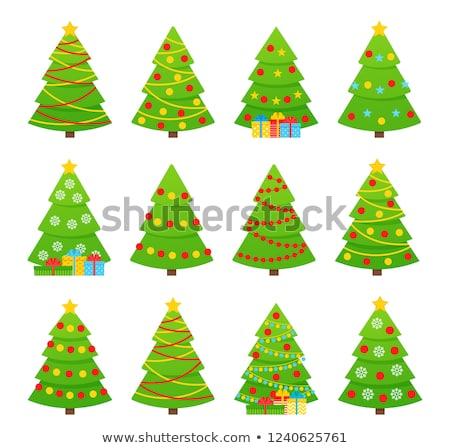 Establecer tres abeto árboles ilustración árbol de navidad Foto stock © IvanDubovik