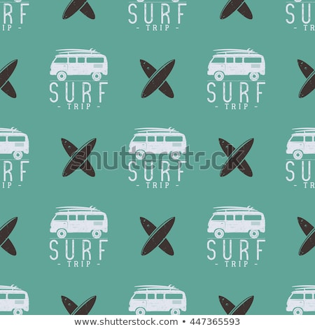 Surf car pattern. Surfing seamless wallpaper. Summer background with old automobile isolated on whit Stock photo © JeksonGraphics