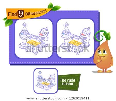 Jogo encontrar diferenças presentes crianças adultos Foto stock © Olena