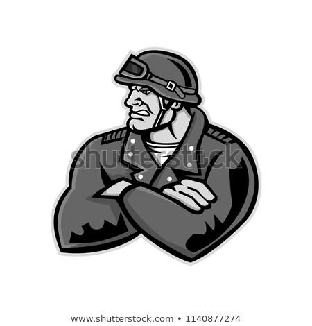 biker arms crossed mascot stock photo © patrimonio