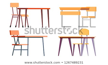 Stock photo: School Desk Set Vector. Chipboard, Chir. Classic Empty Wooden And Metal Furniture. Isolated Cartoon