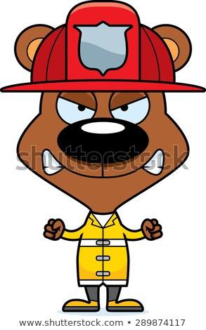 Cartoon zły strażak ponosi patrząc Zdjęcia stock © cthoman