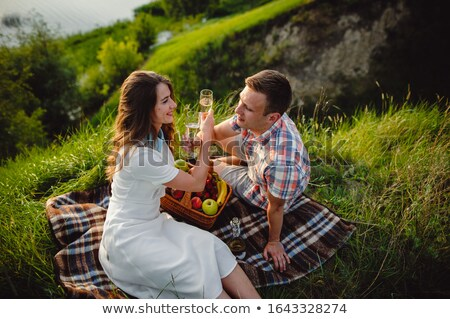 smiling couple drinking champagne at picnic stock photo © dolgachov