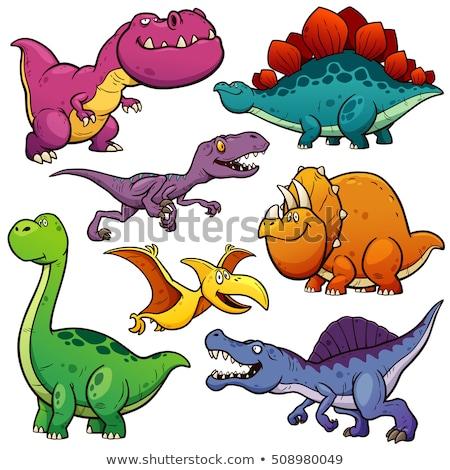 rajz · dinoszaurusz · aranyos · dizájn · elem · boldog · állat - stock fotó © mumut