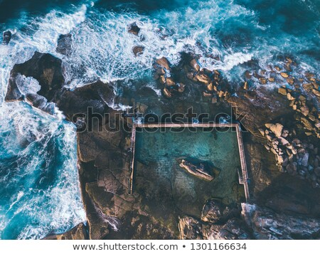 Aerial view of waves around Curl Curl rock pool Stock photo © lovleah