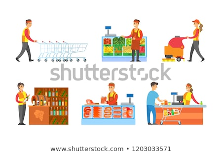 Worker Man Arranging Shopping Trolleys Vector Stock photo © robuart