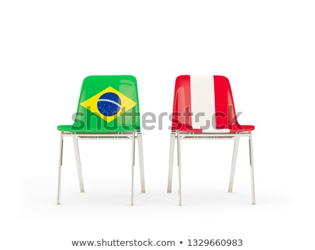 Dois cadeiras bandeiras Brasil Peru isolado Foto stock © MikhailMishchenko