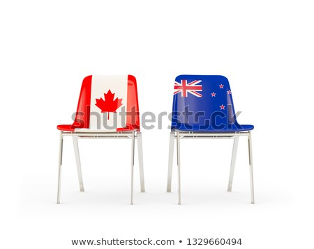 two chairs with flags of canada and new zealand stock photo © mikhailmishchenko