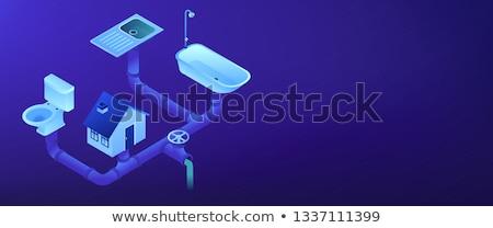 Csatornázás izometrikus 3D szalag fejléc ház Stock fotó © RAStudio