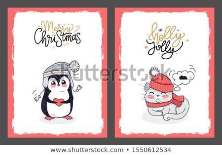Christmas kaarten pinguin vrolijk poesje vector Stockfoto © robuart