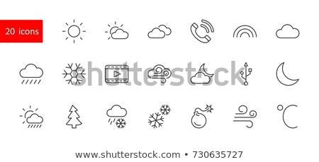 zon · maan · lineair · icon · vector · web · design - stockfoto © kyryloff