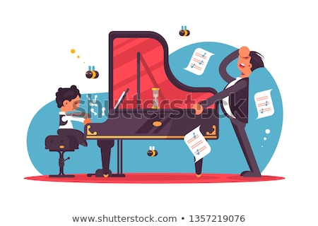 Stressed piano tutor teaching boy Stock photo © jossdiim