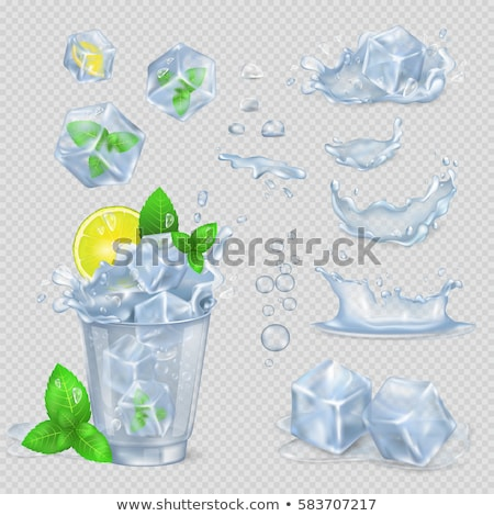 Ice Cube Isolated Transpatrent Vector. Cool Glass Drink. Iced Liquid. Shiny Coctail Element. Realist Stock photo © pikepicture