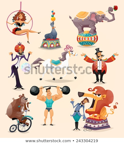 Circus performance decorative icons set Stok fotoğraf © netkov1