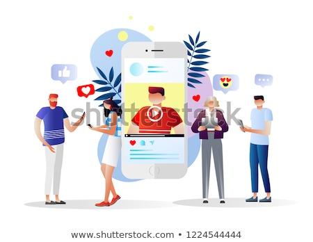 Influencer Digital Marketing Web Banner Vector Template Stock photo © pikepicture