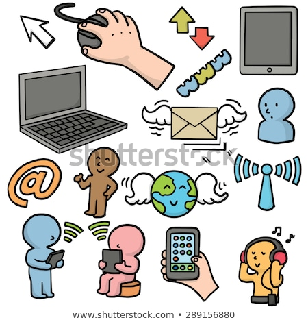 smartphone cartoon character with envelope. Clip Art Vector illu Stock photo © doomko