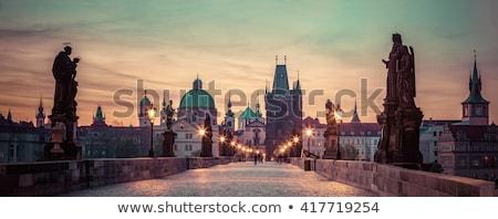 Прага рассвета моста Чешская республика небе дома Сток-фото © Givaga