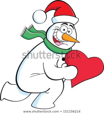 Cartoon работает снеговик сердце черно белые Сток-фото © bennerdesign