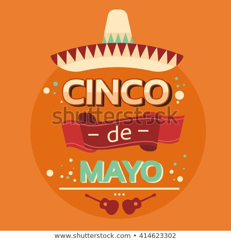Stock photo: Cinco de Mayo banner of mariachi guitar decoration