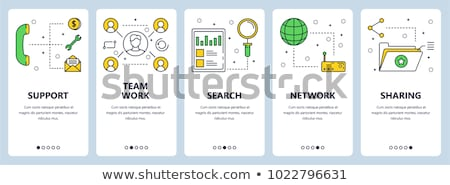 business and security   set of line design style vertical web banners stock photo © decorwithme