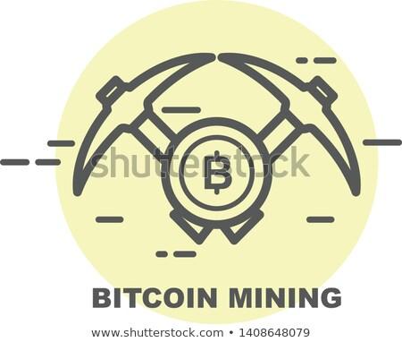 Bitcoin wydobycie ikona dwa monety Internetu Zdjęcia stock © Winner
