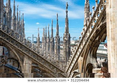 Milan skyline view from Milan Cathedral (Duomo di Milano) roofto Stock photo © boggy