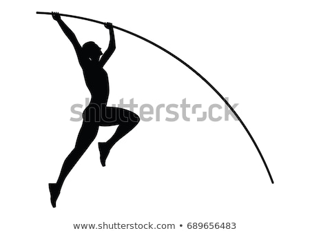 silhouette of a girl pole vaulting Stock photo © bluering