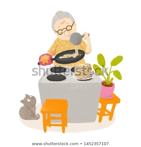 Nagyi palacsinták képeslap aranyos illusztráció étel Stock fotó © vasilixa