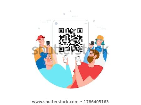 Barcode travailleurs entrepôt stockage installation générateur Photo stock © RAStudio